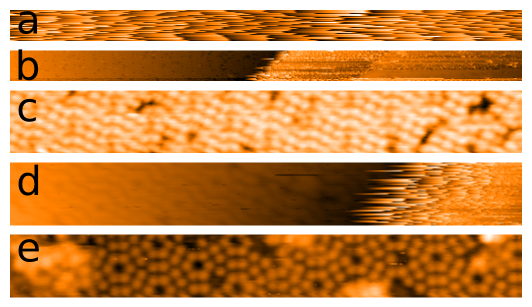 Progress of automate STM imaging of the Si (111) 7x7 reconstruction in vacuum. Imaging progresses from noise to atomic resolution.